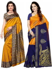 Floral Print Daily Wear Poly Silk Saree  (Pack of 2)