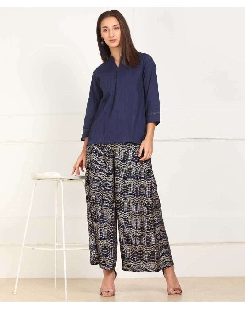 Relaxed Women Blue Cotton Viscose Blend Trousers