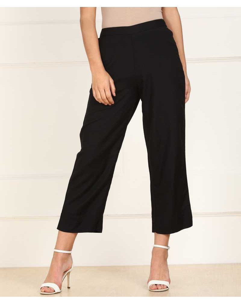 Relaxed Women Black Cotton Lycra Blend Trousers