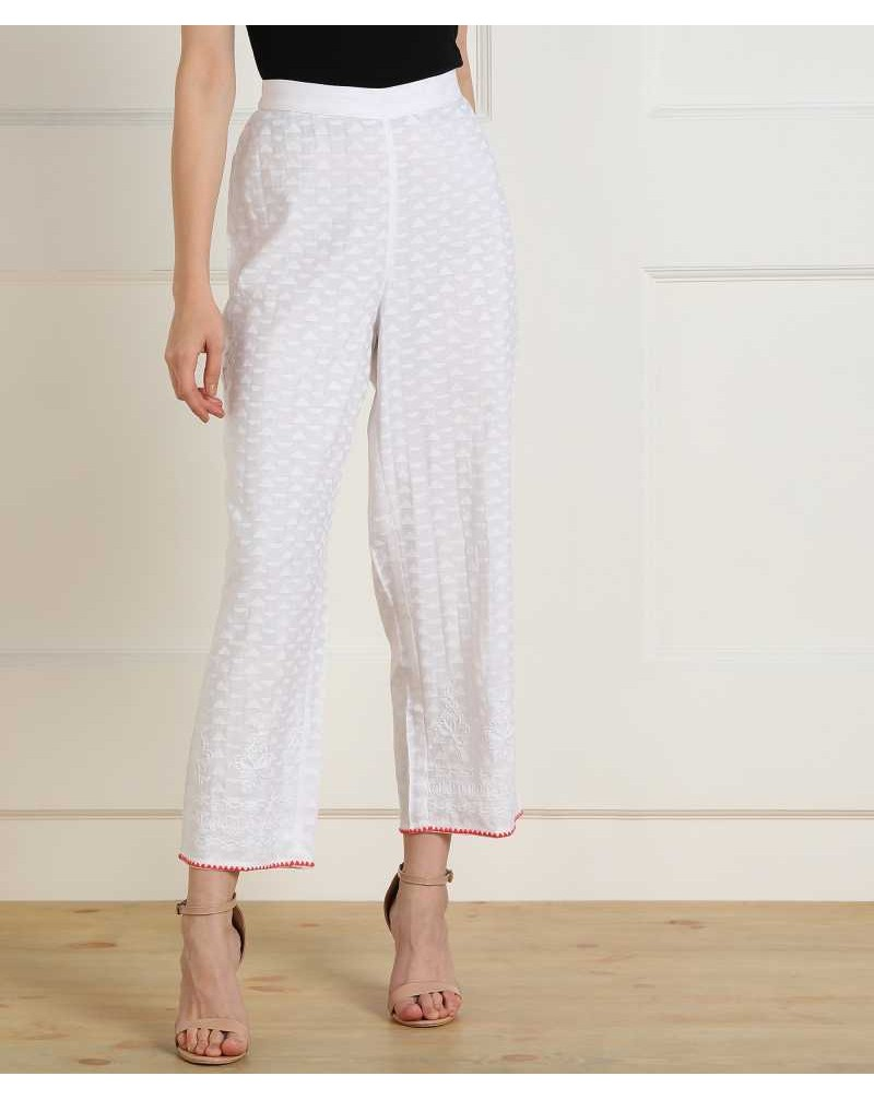 Regular Fit Women White Viscose Trousers