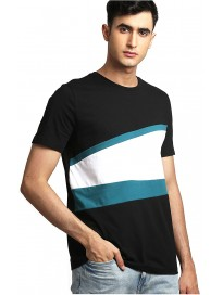 AELOMART Men's Regular Fit Cotton T Shirt-(AMT1334-P_Black)