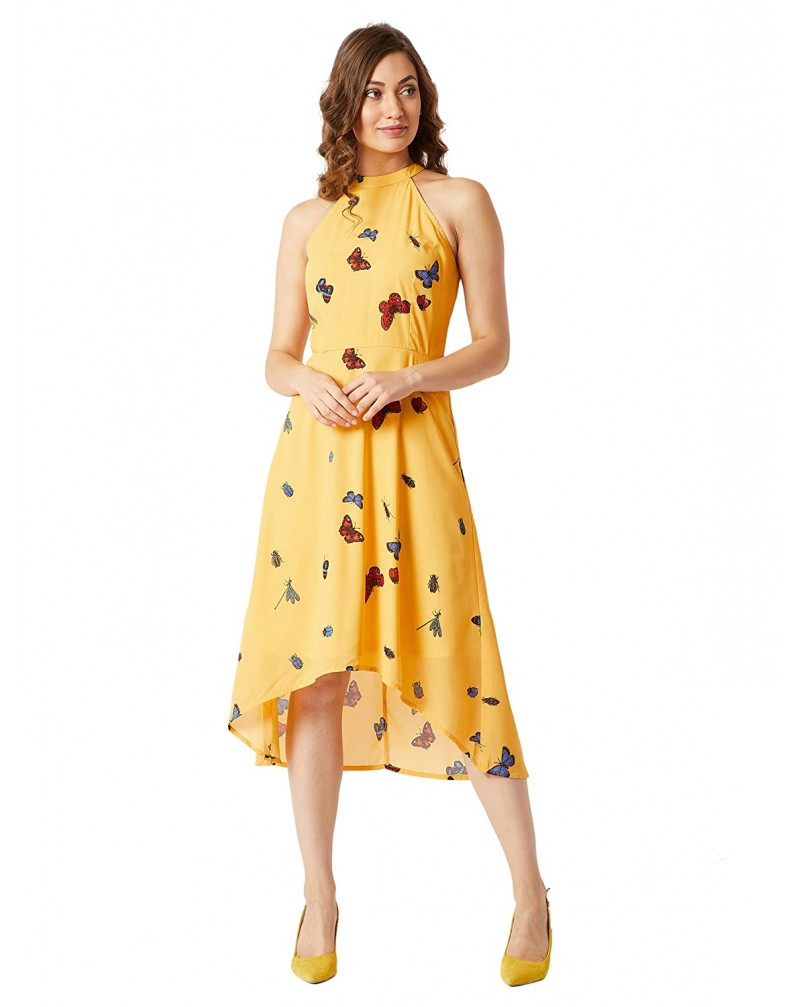 Miss Chase Women's Yellow Halter Neck Printed Asymmetric Dress