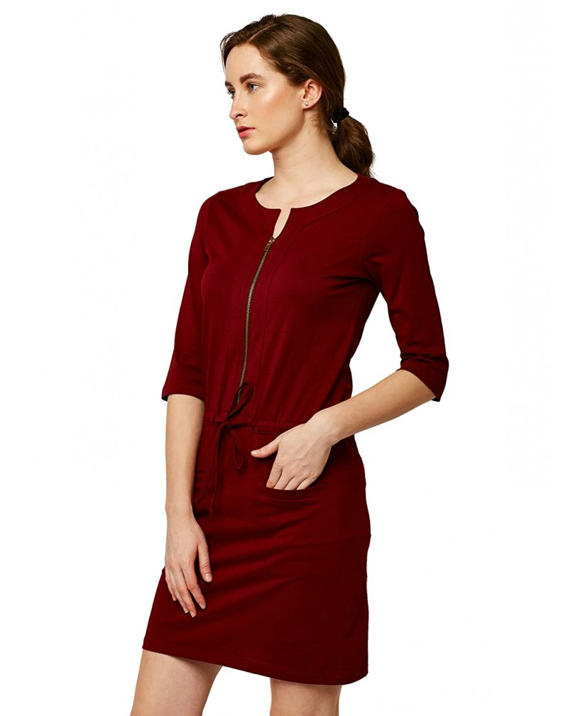Miss Chase Women's 3/4 Sleeves Round Neck Relaxed Fit Mini Cotton Dress with Pockets