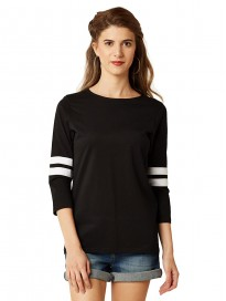 Miss Chase Women's Black Round Neck 3/4 Sleeves Cotton Solid Basic Regular Top & T-Shirt