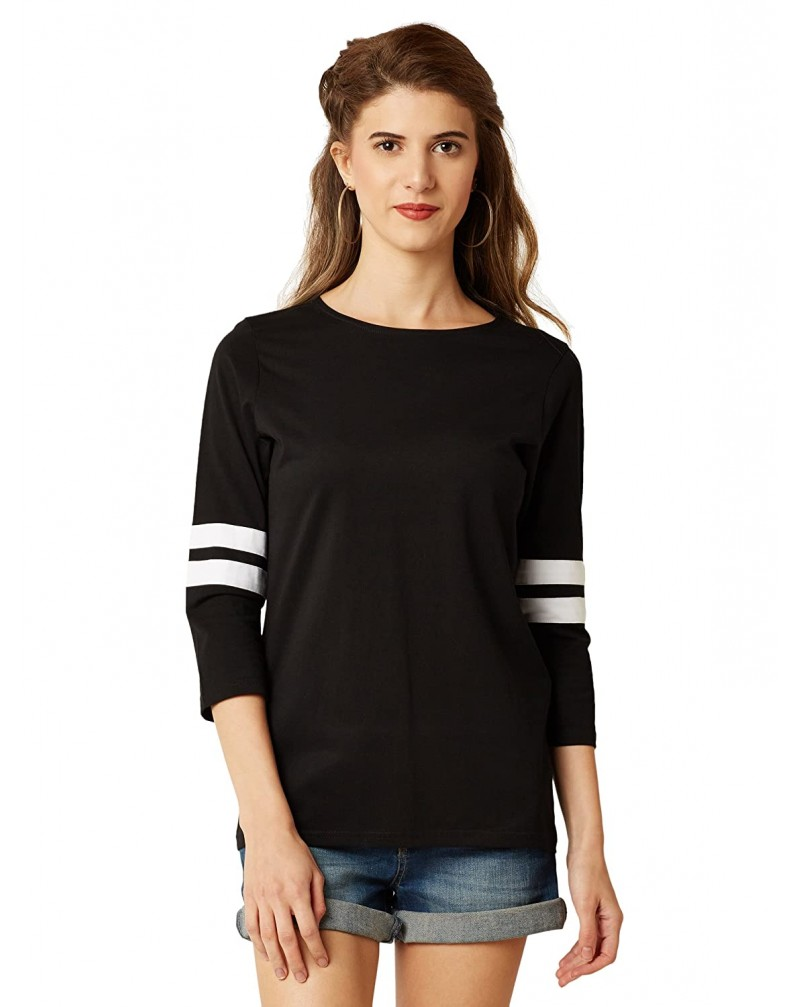 Miss Chase Women's Black Round Neck 3/4 Sleeves Cotton Solid Basic Regular Top