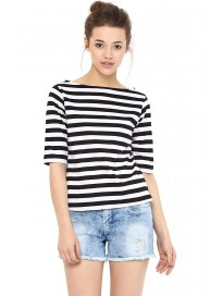 Miss Chase Womens Black and White Striped Top