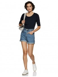 Miss Chase Womens Navy Blue Basic Top