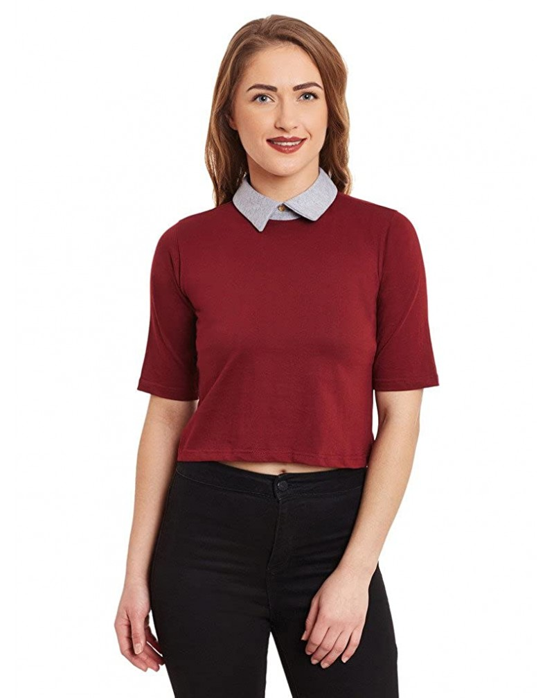 Miss Chase Women's Half Sleeves Collar Neck Boxy Fit Casual Crop Top