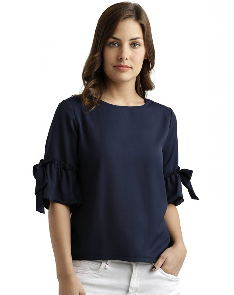 Miss Chase Women's Navy Blue Basic Top