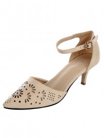 SHERRIF SHOES Women's Cream Kitten Heel Sandal