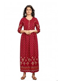 Blissta Girl's and Women's Stitched Anarakali Maroon Foil Printed Rayon Kurti