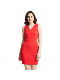 COVER STORY Red Coloured Crepe Dress