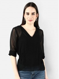 COVER STORY Solid Black Coloured Viscose Rayon Women Top