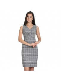 COVER STORY Checked Grey Coloured Viscose Rayon Women Dress