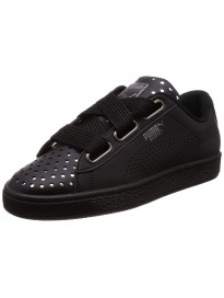 Puma Women's Basket Heart Ath Lux Wn S Black-PUM Leather Sneakers