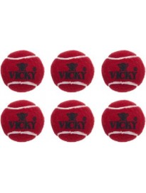 Vicky Heavy Cricket Tennis Ball  (Pack of 6, Red)