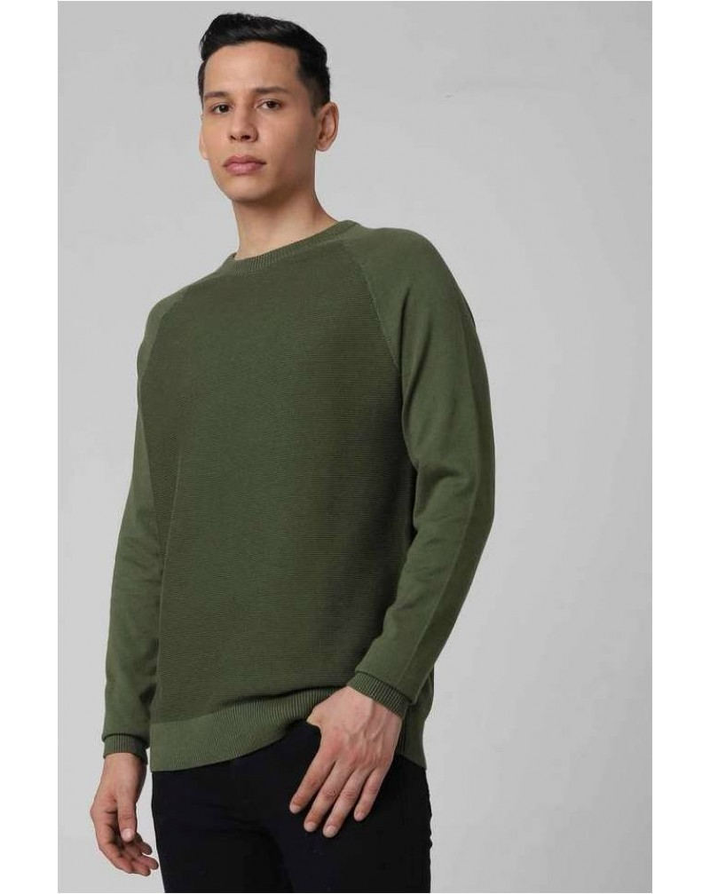 FRATINI Mens Regular Fit Round Neck Solid Sweater